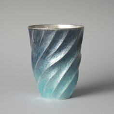 Hiroshi Suzuki Hammer-raised and chased, enamelled fine silver