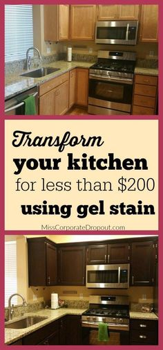 Updating the look of your kitchen doesn't have to be expensive. Check out how you can upgrade your kitchen cabinets using gel stain for less than $200.