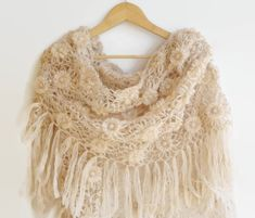 beige crocheted shawl ,mothers day ,women shawl wrap ,wedding accessories ,bridal , floral scarf ,winter shawl scarf ,for her on Etsy, $75.00