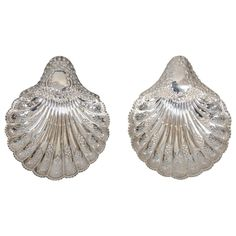 Pair of Silver Scalloped Shell Dishes | From a unique collection of antique and modern sterling silver at https://www.1stdibs.com/furniture/dining-entertaining/sterling-silver/
