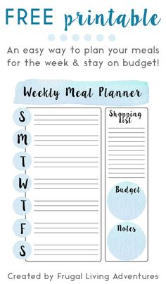 Free Weekly Meal Planner Template to help you stay on budget and ease the stress of cooking every day!  #freeprintable #budget #mealplanner #frugal