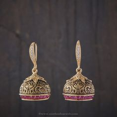 Collection of Indian Jewellery Designs Gold Jhumka Earrings, Jewelry Design Earrings, Gold Earrings Designs, Ear Jewelry, India Jewelry, Designer Earrings, Necklace Designs, Jewelery, Jhumka Designs