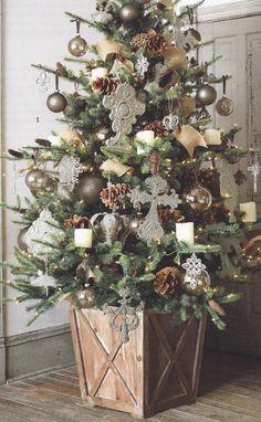 The FarmHouse Christmas Tree Box Tree Skirt Tree Collar - Weihnachten Christmas Tree Base, Beautiful Christmas Trees, Christmas In July, Country Christmas, Christmas Home, Vintage Christmas, Christmas Wreaths, Christmas Crafts, White Christmas