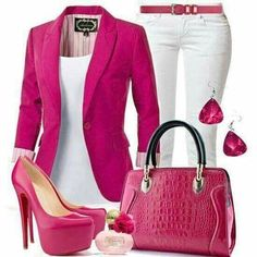 this pink and white look. Add some color to my work attire Classy Outfits, Chic Outfits, Spring Outfits, Fashion Outfits, Womens Fashion, Fashion Ideas, Look Blazer, Blazer Shirt, Vetement Fashion