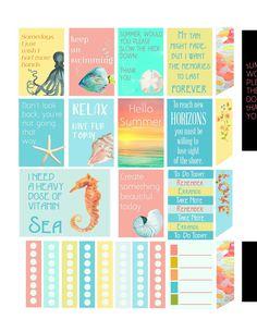 iloveminialbums: New Summer Freebie Planner Stickers and Silhouette Cameo Tutorial Summer Planner, To Do Planner, Mini Happy Planner, Free Planner, Erin Condren Life Planner, Planner Pages, Planner Ideas, Disney Planner, Calendar Ideas