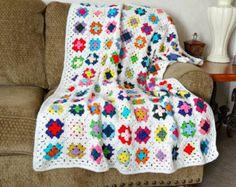 Crochet Afghan, carré Granny couverture, couverture au Crochet, Multi couleur bonneterie Throw
