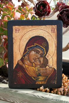 Hand painted Byzantine icon Virgin Mary with child by Sebamadeit