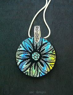 Dichroic Fused Glass Jewelry by Tanya Veit: Mandala - Dichroic Fused Glass Pendant