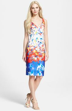 Milly Watercolor Print Sheath Dress available at Dresses For Work, Summer Dresses, Watercolor Print, V Neck Dress, Nordstrom Dresses, Sheath Dress, Fashion Dresses, Portrait, My Style
