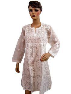 White Cotton Kurti Kurta Casual Summer Stylish Neckline Embroidered Tunic Dress Small Mogul Interior, http://www.amazon.com/dp/B008NZYDA2/ref=cm_sw_r_pi_dp_J80fqb0QFXVS1