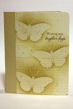 By Heather Nichols. Stamp cardstock with text. Stamp butterflies in VersaMark & emboss with clear powder. Sponge over & around the butterflies.