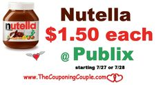 Nutella Spread only $1.50 @ Publix starting 7/27 or 7/28. If you like Nutella Print these Coupons Now to score this deal next week Folks. **  Click the link below to get all of the details ► http://www.thecouponingcouple.com/nutella-spread-only-1-50-publix/ #Coupons #Couponing #CouponCommunity  Visit us at http://www.thecouponingcouple.com for more great posts!