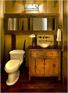 Bathroom,Outstanding Powder Room Wood Rustic Phoenix For Bathroom With Modern Washbasin And Wall Mounted Lighting Mirror Feat Wood Flooring,Inspiring Rustic Vessel Sink Vanity For Bathroom