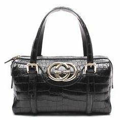Gucci Black Alligator Leather Medium Britt Boston Handbag - $2,699.99