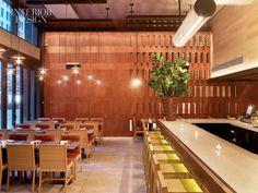 Faux terra cotta blocks create texture, ristorante asellina, NYC