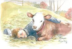 Watercolor portrait of my oldest and his pet cow, Rosie. See more at karenstraight.com