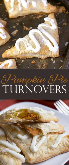 Pumpkin Pie Turnovers with cream cheese frosting is a simple classic dessert recipe which takes few ingredients and little time. #TFTestKitchen