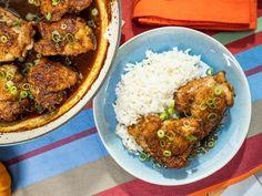 Get Caramel Chicken Recipe from Food Network - Katie Lee // 333 cal, protein in recipe Carmel Chicken, Ginger Chicken, Salsa Chicken, Coconut Chicken, Chicken Curry, Butter Chicken, Roasted Chicken, Fried Chicken, Wallpaper Food