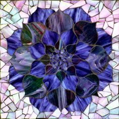 """Purple Lotus, stained glass mosaic, 11""""x11"""" (12""""x12"""" framed), 2013   available for purchase  Visit Kasia Mosaics on facebook to see lots more mosaics: https://www.facebook.com/KasiaMosaics"""