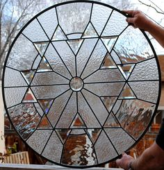 Stained Glass Window textures clear glass and bevel round panel on Etsy, $699.99