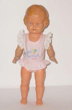 Alte-Schildkroet-Puppe-Baerbel-Schnecken-Schildkroetpuppe-34cm-Schneckenbaerbel-Doll