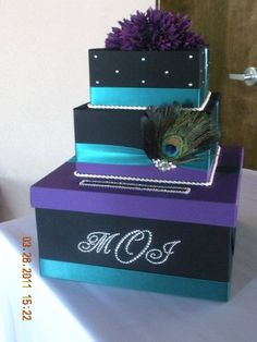 Custom Card Box for Wedding by AllysWeddingFavors on Etsy, $50.00 just not the peacock feather