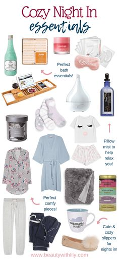 Cozy Night In Essentials Cozy Night In Essentials // Gift Ideas for Homebodies // Homebody Gift Ideas // Cozy Night In Must Haves & Beauty With Lily Diy Beauty, Beauty Hacks, Beauty Tips, Beauty Essentials, Beauty Products, Relax, Laneige, Night Routine, Beauty Routines