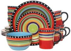 Stoneware Dinnerware Set Pueblo Springs 16 Piece Multicolor Service US Dinnerware Sets Walmart, Dinnerware Sets For 12, Stoneware Dinnerware Sets, Square Dinnerware Set, Tableware, Dinnerware Ideas, Modern Dinnerware, Red Dinnerware, Rustic Dinnerware