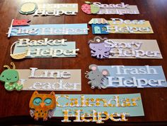 """Kindergarten classroom """"helper"""" titles. Made for a friend setting up her classroom this year as a brand new teacher. I couldn't resist offering to help her out, since teachers (and my friend) are so amazing!"""