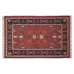 Check out this item at One Kings Lane! 8'x10' Europa Kilim Rug, Burgundy