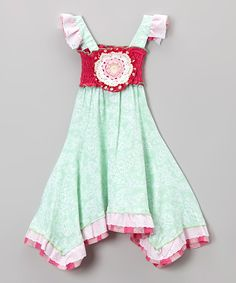 Take a look at this Mint Floral Shirred Angel-Sleeve Dress - Infant, Toddler