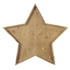 Large wooden star with fitted LED lights Quirky centre piece for any big display or simply hanging in your room for that superstar feel Size is 54cm