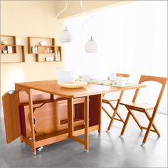 beautiful folding dining table with good design: charming wooden
