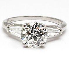 VINTAGE ENGAGEMENT RING OLD EUROPEAN CUT DIAMOND SOLID PLATINUM