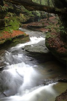 Rushing water at Old Man's Cave in Hocking Hills, Ohio