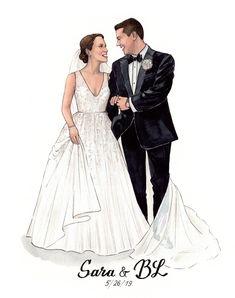 Wedding Illustration, Couple Illustration, Digital Illustration, Graphic Illustration, Watercolor Wedding, Watercolour, Wedding Embroidery, Wedding Silhouette, Cute Couple Art