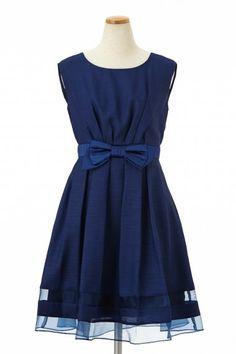 シフォン×オーガンジー・ウエストリボン付きドレス - AIMER(エメ)公式通販サイト|パーティー・結婚式ドレスで人気