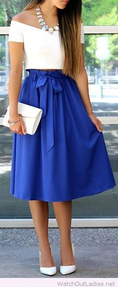Wonderful blue midi skirt with a white crop top