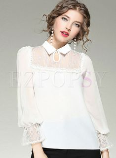 Shop for high quality Work Lace Splicing Turn-down Collar Long Sleeve Blouse online at cheap prices and discover fashion at Ezpopsy.com