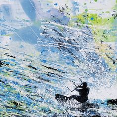 Kite Surfing - Summer Wind by Melanie McDonald . Painting inspired by kiteboarders on the north Brittany coast France .