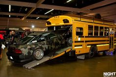 Nissan 240sx, with a school bus as a support vehicle. Win.