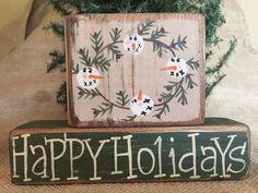 Primitive Christmas Snowman Wreath Happy Holidays Shelf Sitter Wood Block Set  #PrimitiveCountry