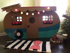 "Adorable DIY camper - the perfect ""play zone"" at an indoor camping-themed party! Camping has reinvented itself and has become mo. Activities For Kids, Crafts For Kids, Kids Diy, Diy Crafts, Retro Campers, Happy Campers, Camping Parties, Camping Themed Party, Camping Theme Crafts"