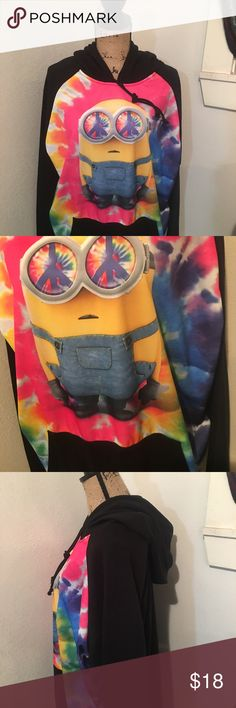 Tie Dye Minion hoodie Tie Dye Minion hoodie, big and comfy, excellent used condition, size days XL (46/48) so more like XXL. Illumination Entertainment Tops Sweatshirts & Hoodies