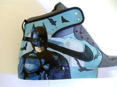 Custom Painted Batman Shoes  Nike Big High AC by ProjektKreations, $200.00