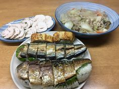kuni's食堂( ̄(エ) ̄)v 棒寿司(鯖、サンマ、玉子焼き) かしわハム(ソルト&ペッパー、バジル、イタリアン」 八宝菜