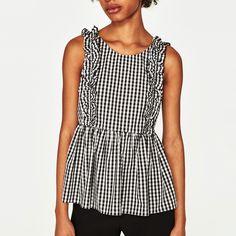 Black Gingham Ruffles Sleeveless Blouse Women 2017 Summer Fashion O-neck  Short Blouses Shirts Woman