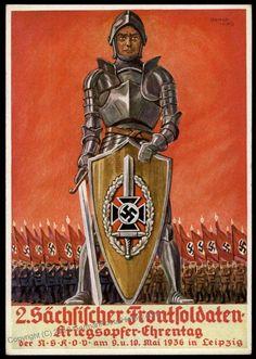 3rd Reich NSKOV 2nd Saxony Veterans Day Propaganda Card