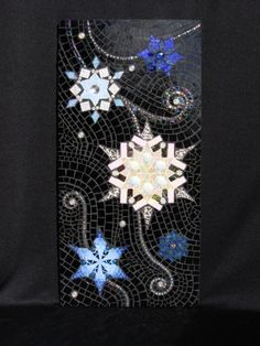 Beautiful snowflakes swirling in a night sky. Mosaic Art, Mosaic Glass, Stained Glass, Night Skies, Garden Art, Belt Buckles, Snowflakes, Art Pieces, Tile