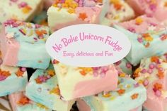 No Bake Unicorn Fudge is simple to make, delicious to eat and so much fun in every way. It's a great easy recipe for cooking with kids!